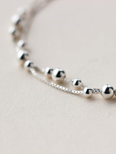S925 Silver Smooth Surface Double Layer Bracelet