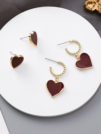 Alloy With Gold Plated Simplistic Heart Stud Earrings