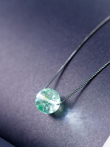 Trendy Green Round Shaped Crystal S925 Silver Necklace
