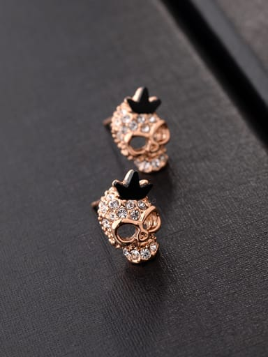 Personality hollowed out full diamond retro skull stud earrings