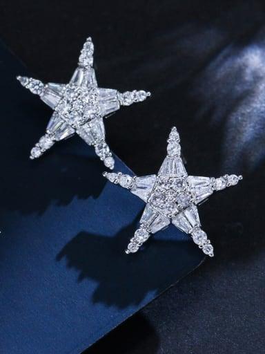 Sparkling white zircon stars simple versatile necklace  earrings set