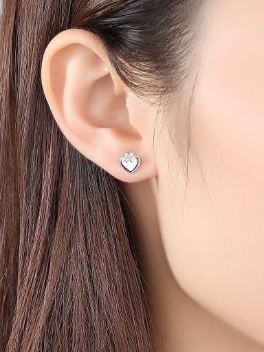 925 Sterling Silver With Rhinestone Simplistic Heart Stud Earrings