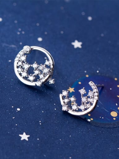 925 Sterling Silver With  Cubic Zirconia Simplistic Moon Stud Earrings