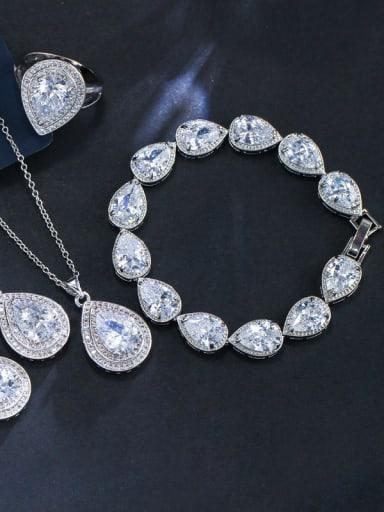 Luxury Shine  AAA Zircon Necklace Earrings Bracelet ring 4 Piece jewelry set