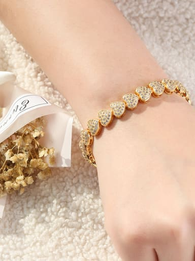 Copper With Cubic Zirconia Classic Heart Bracelets