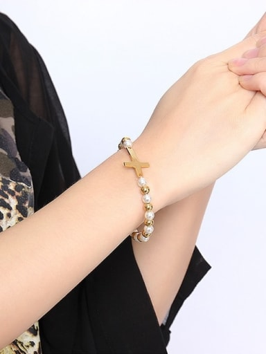 Elegant Gold Plated Cross Shaped Titanium Bracelet
