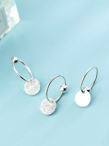 Personality disc 925 silver earrings