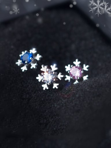 925 Sterling Silver With Platinum Plated Simplistic Snowflake Stud Earrings