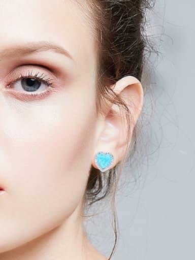 Fashion Heart Opal stone Cubic Shiny Zirconias 925 Silver Stud Earrings
