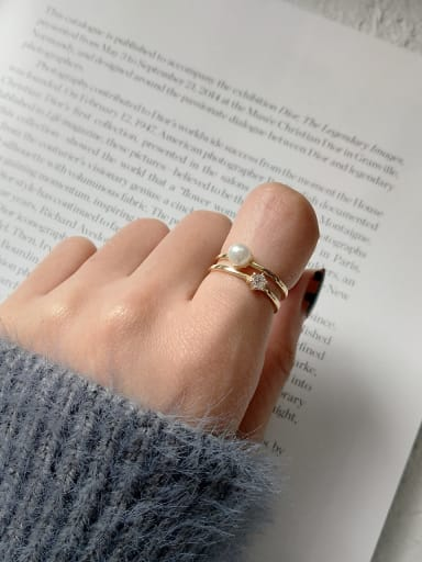 Pure silver simple zricon synthesis pearl free size ring