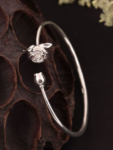 S925 Silver Rose Flower Opening bangle
