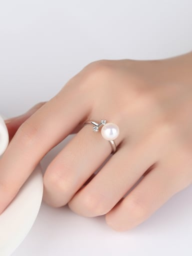 Pure silver freshwater pearl minimalist  free size ring