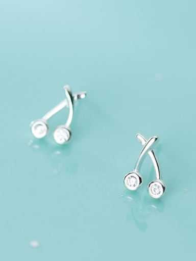 925 Sterling Silver With Platinum Plated Simplistic Friut  Cherry Stud Earrings