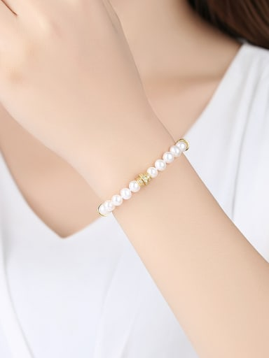 Pure silver freshwater pearl beads Gold Zricon Bracelet