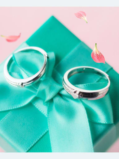 925 Sterling Silver With Silver Plated Fashion Heart Free Size Rings