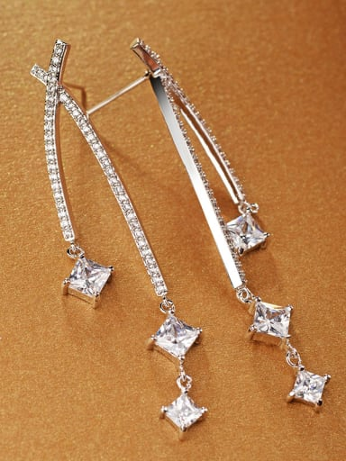 Copper With 18k White Gold Plated Fashion Charm Stud Earrings