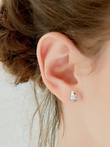 Tiny Bird Cubic Zircon 925 Silver Stud Earrings