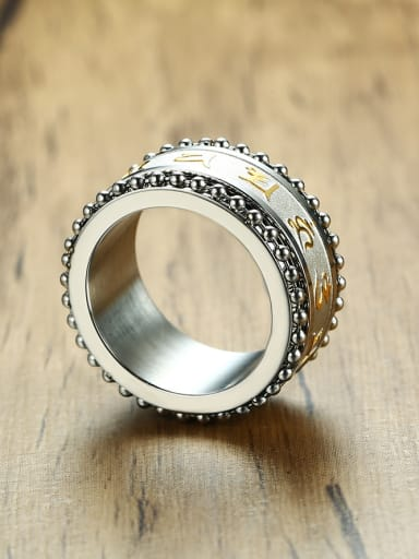 Men Personality Stainless Steel Scriptures Ring