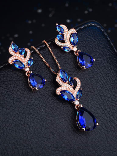 Copper With  Glass stone Trendy Water Drop 2 Piece Jewelry Set