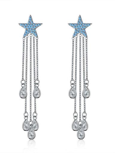 New five-pointed star luxury fringed AAA zircon earrings