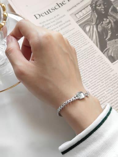 Pure silver square imitation crystal Chain Design Bracelet