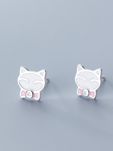 925 Sterling Silver With Silver Plated Cute Pink Cat Stud Earrings