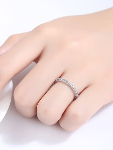 Sterling Silver micro-inlay AAA zircon Minimalist design ring