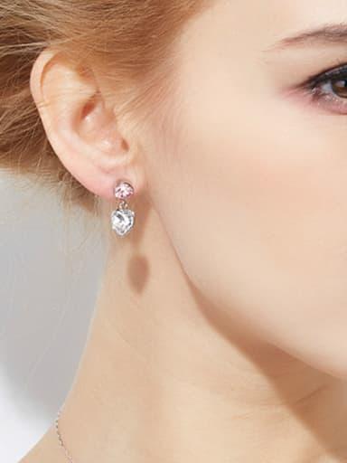 Heart-shaped Swarovski Crystal drop earring