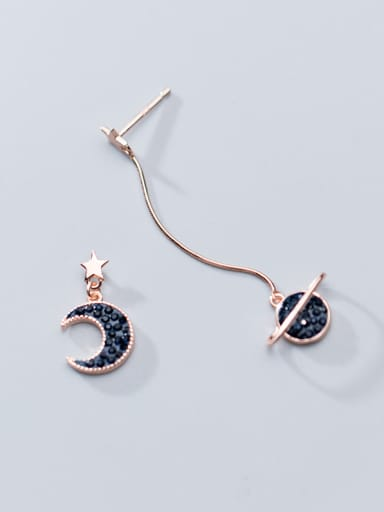 925 Sterling Silver With Stars Moons Asymmetric Long Earrings
