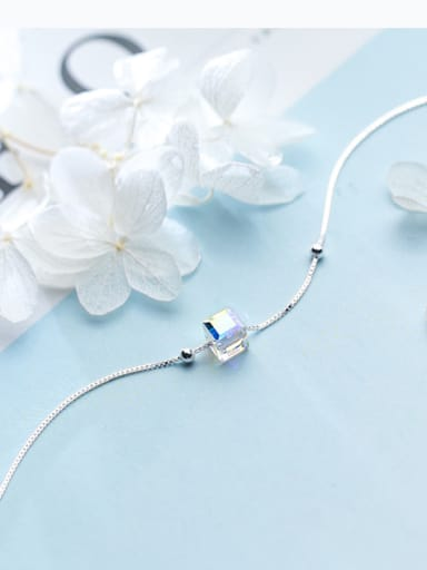 Temperament Square Shaped Crystal S925 Silver Bracelet