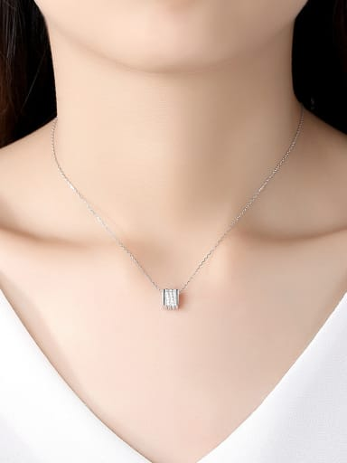 925 Sterling Silver With Platinum Plated Simplistic Geometric Necklaces