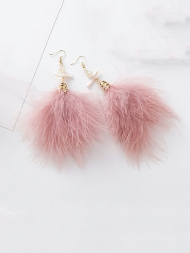 Alloy With Gold Plated Simplistic  Irregular Feather Hook Earrings