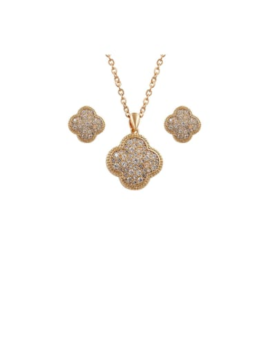 Copper With Cubic Zirconia Delicate Clover Pendant  Earrings And Necklaces 2 Piece Jewelry Set