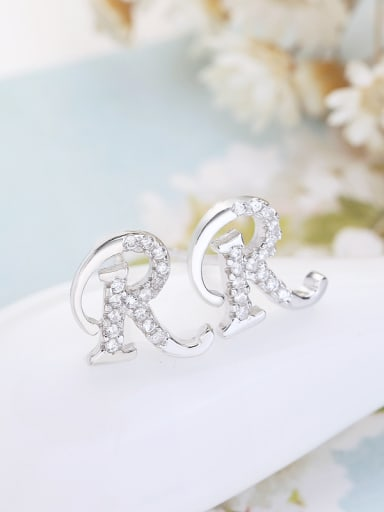 Micro Pave Letter R Stud Earrings