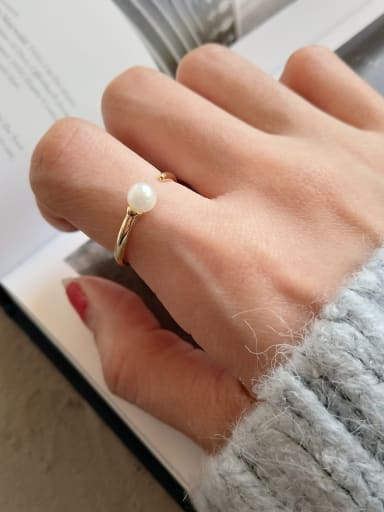 Pure silver 18k-gold synthetic Pearl free size Ring
