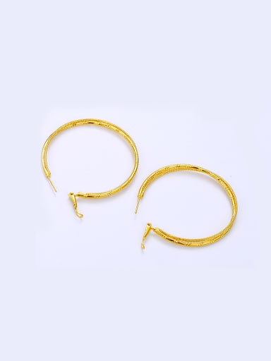 Copper Alloy 24K Gold Plated Simple Big hoop earring