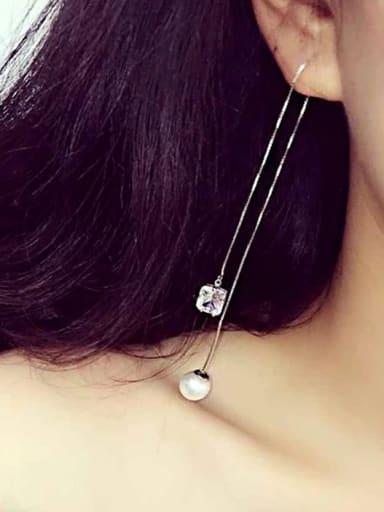 S925 silver pearl zircon personerlity line threader earring