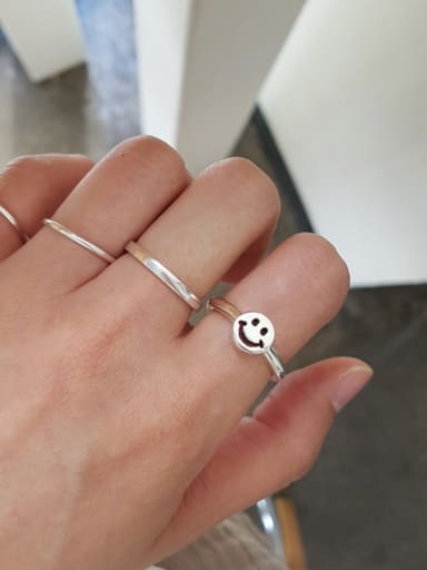 Sterling silver simple smile smiling face ring
