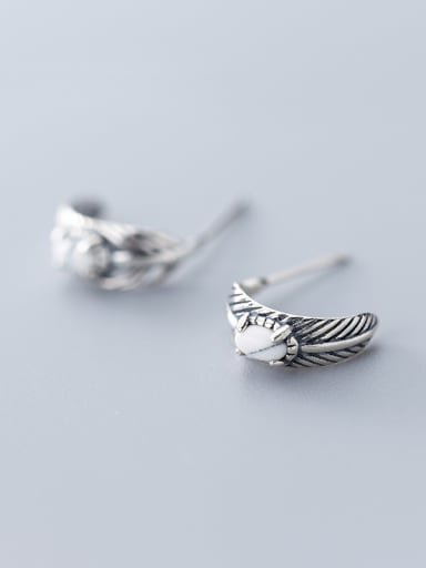 925 Sterling Silver With Antique Silver Plated Vintage Leaf Stud Earrings