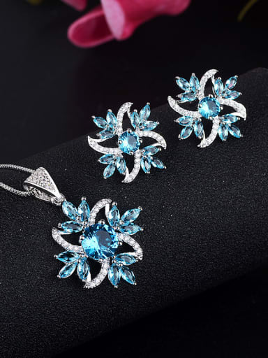 Copper With Glass stone Trendy Flower 2 Piece Jewelry Set
