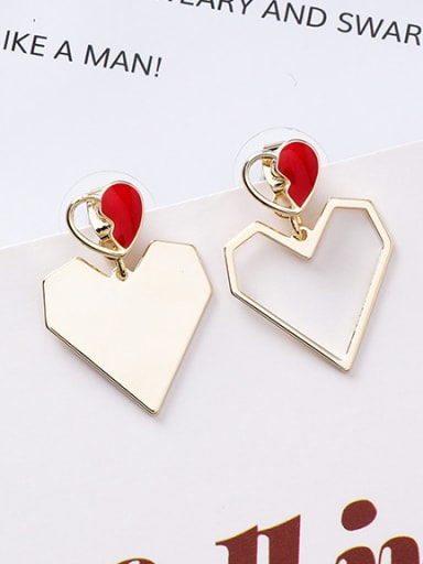 Alloy With Rose Gold Plated Simplistic Heart Drop Earrings