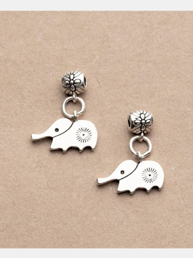 Thai Silver With Antique Silver Plated Cartoon elephant Charms