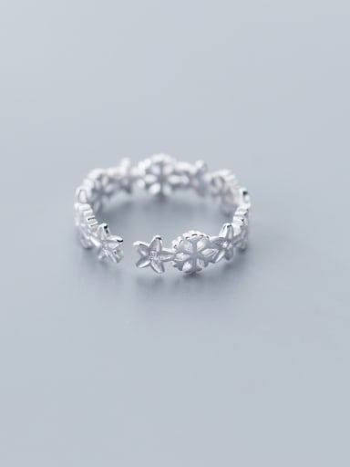 925 Sterling Silver With Platinum Plated Personality Snowflake Wreath  Free Size  Rings
