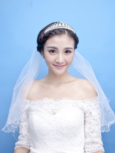 Micro Pave Zircons Artificial Pearls White Plated Hair Accessories