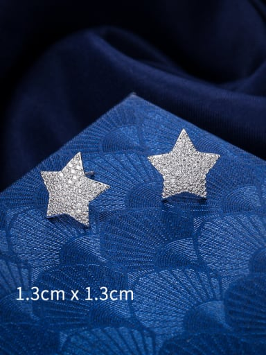Copper With Platinum Plated Cute Star Stud Earrings