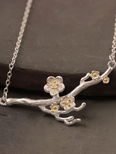 Creative Flower Plum Silver Necklace