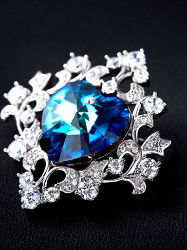 Blue Heart-shaped Brooch