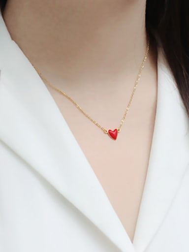 Simple Red Heart Gold Plated Silver Necklace