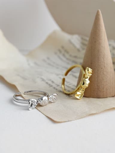 925 Sterling Silver With Glossy Simplistic Bowknot Candy Free Size  Rings