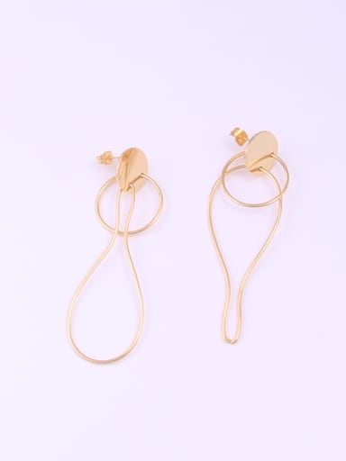 Titanium With Gold Plated Simplistic Irregular Drop Earrings
